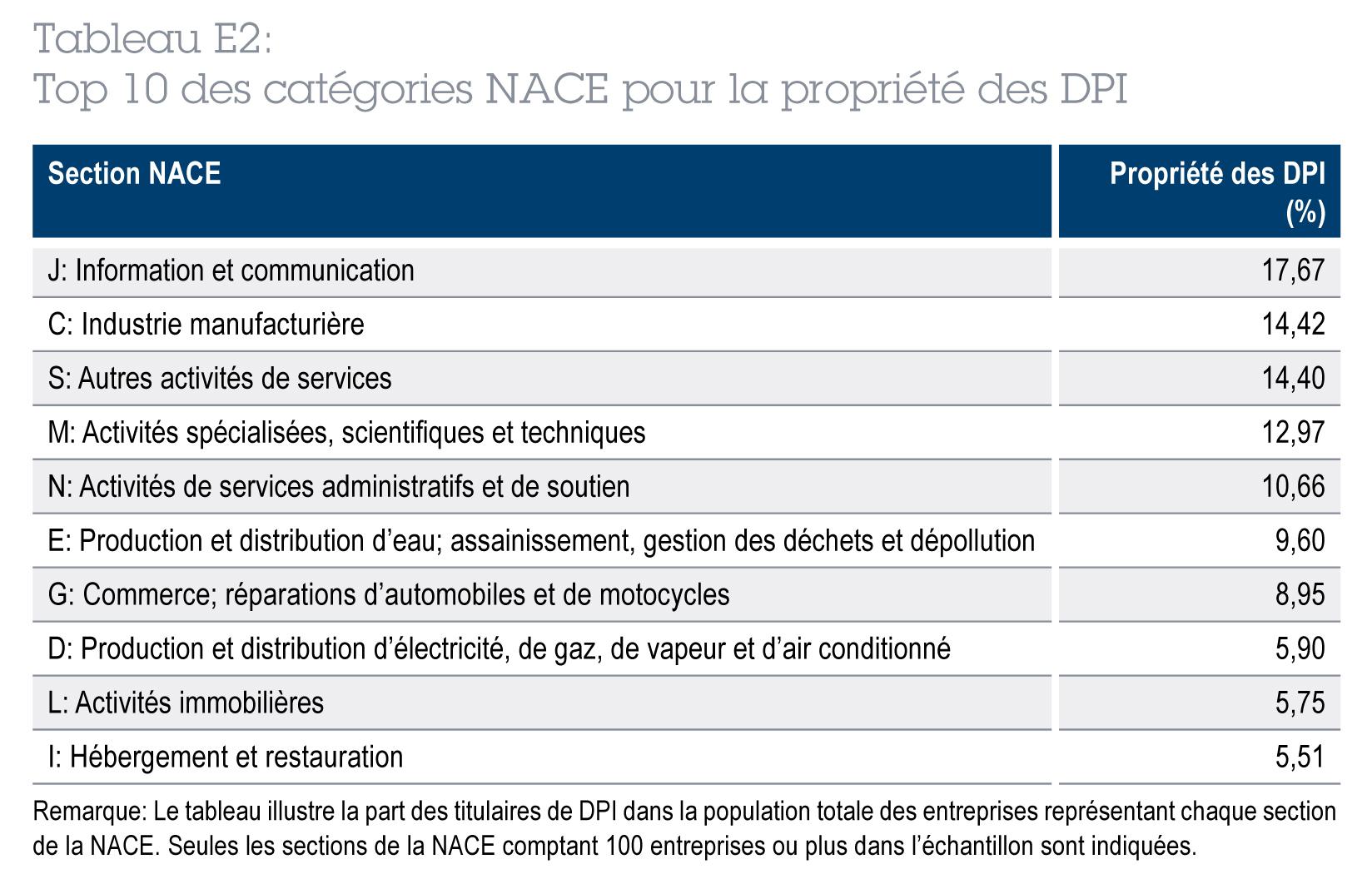 Top 10 des catégories NACE pour la propriété des DPI