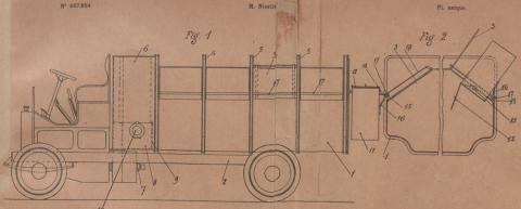 Brevet d'invention n° 467894 déposé le 31 janvier 1914 par Samuel Niestlé pour un Système de camion, automobile ou autre, coopérant avec un réceptacle perfectionné pour l'enlèvement des ordures ménagères