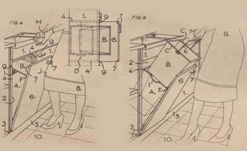 Brevet d'invention n° 1168836 déposé le 5 mars 1957 par Simon Marcot pour une boîte à ordures et poubelle perfectionnée pour meubles de cuisines