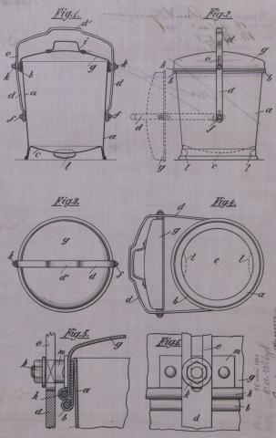 Brevet d'invention n° 310933 déposé le 18 mai 1901 par Witzel pour un seau collecteur pour déchets de cuisine, immondices et autres détritus