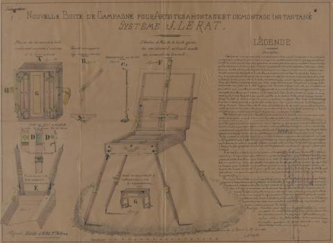 Brevet d'invention n° 178342 déposé le 4 septembre 1886 par Jean Lerat pour une nouvelle boite de campagne pour artistes-peintres à montage et démontage instantanés
