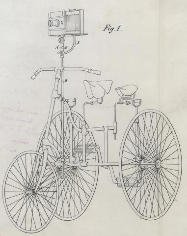 Brevet d'invention n° 191003 déposé le 4 juin 1888 par Jean Delton pour un nouveau support d'appareil photographique permettant d'adapter les chambres aux tricycles et aux bicycles au moyen duquel ces derniers forment le pied de l'appareil