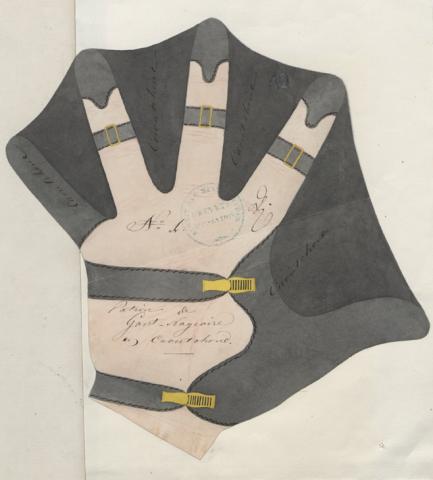 Brevet d'invention n° 6311 déposé le 8 septembre 1847 par Paul Skipor pour des gants-nageoires