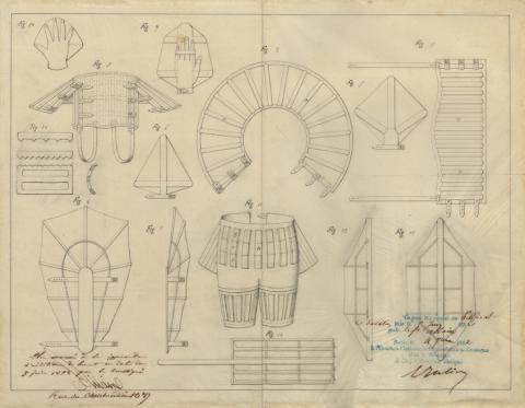 Brevet d'invention n° 11856 déposé le 16 juin 1851 par Alexandre-François Allain pour un appareil de natation et de sauvetage pouvant être appliqué à la marche des aérostats contre le vent
