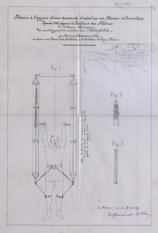 Brevet d'invention n° 286776 déposé le 16 mars 1899 par Charles de Tricornot de Rose pour un nouvel appareil de natation dit l'amphibie