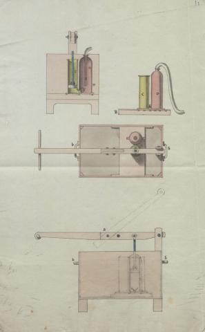 Brevet d'invention déposé le 20 octobre 1808 par Pierre-Marie Touboulic pour une pompe à incendie portative