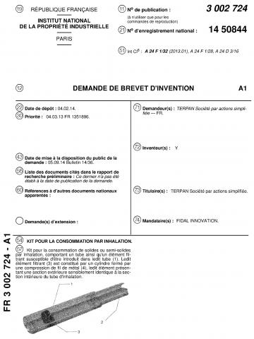 Brevet FR 3 002 724 de la société Terpan