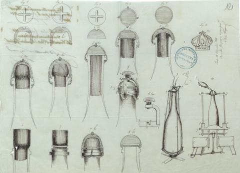 Brevet n° 412 déposé le 15 novembre 1844 par Adolphe Jacquesson pour des perfectionnements apportés dans les appareils et procédés propres au bouchage des bouteilles renfermant des vins ou autres liquides mousseux ou non (1BB412, archives INPI).