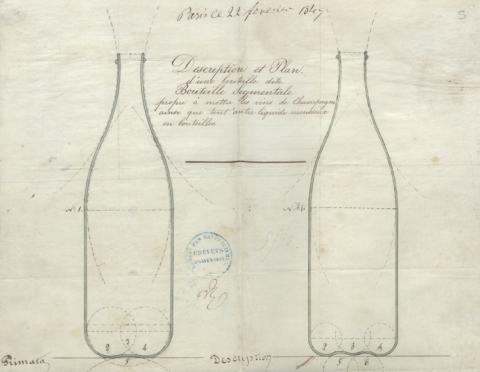 Brevet n° 5175 déposé le 8 mars 1847 par Louis-Marie Canneaux pour un genre de bouteilles dites segmentales pour les vins de Champagne et autres liquides gazeux (1BB5175, archives INPI).