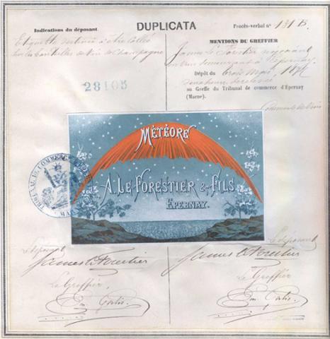 Marque de fabrique et de commerce pour une étiquette destinée à être collée sur des bouteilles de vin de Champagne déposée le 3 mai 1877 par James Le Forestier, négociant en vins, à Epernay (1MA28105, archives INPI).