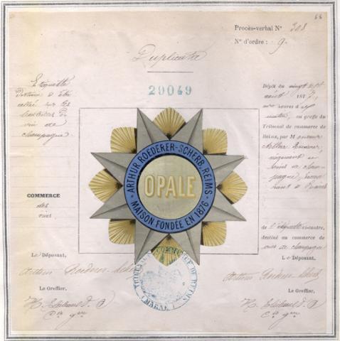 Marque de fabrique et de commerce pour une étiquette destinée à être collée sur des bouteilles de vin de Champagne déposée le 20 août 1877 par Arthur Roederer, négociant en vins de Champagne, à Reims (1MA29049, archives INPI).