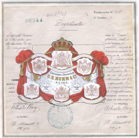 Marque de fabrique et de commerce pour une étiquette destinée à être collée sur des bouteilles de vin de Champagne déposée le 2 février 1878 par Albert de Bary à Epernay (1MA30344, archives INPI).