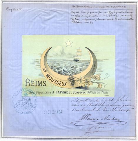 Marque de fabrique et de commerce pour une étiquette destinée à être collée sur des bouteilles de vin mousseux déposée le 24 janvier 1879 par Maurice Barbier, négociant, à Bordeaux (1MA33292, archives INPI).